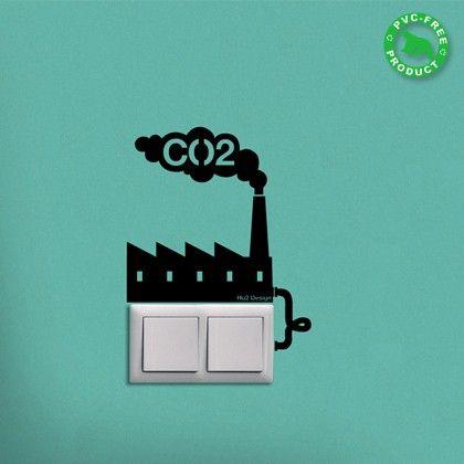 Adesivo de parede para interruptor de luz sobre emissão de CO2