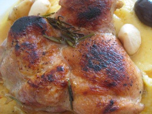 Frango assado com polenta: casquinha crocante