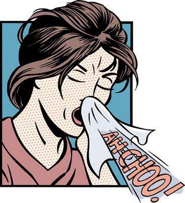 Gripe: cartoon com mulher espirrando