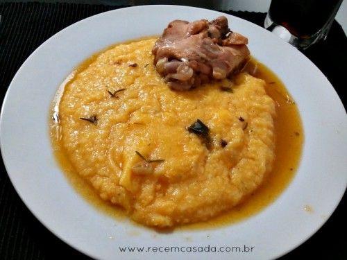 Polenta cremosa com frango. Foto: Cíntia Costa.
