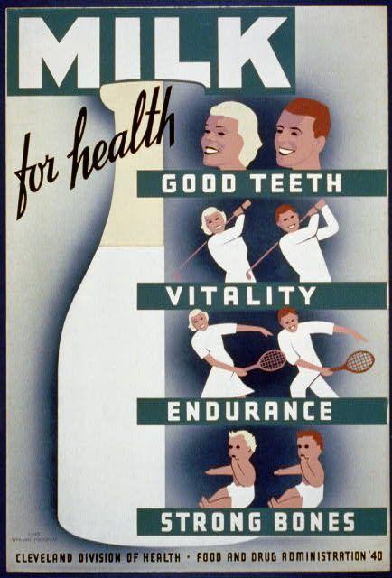 Poster vintage de campanha para incentivar consumo de leite.
