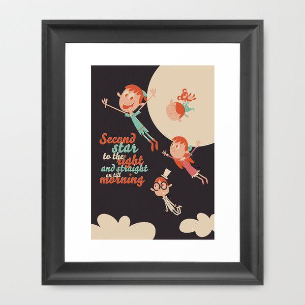 Decoração com ilustração em quadro: Peter Pan e a Terra do Nunca de Ariel Fajtlowicz.