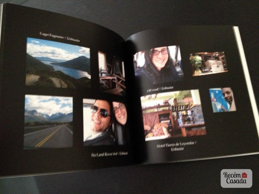 Foto livro com fotos da viagem lua-de-mel. Foto: blog Recém-Casada.