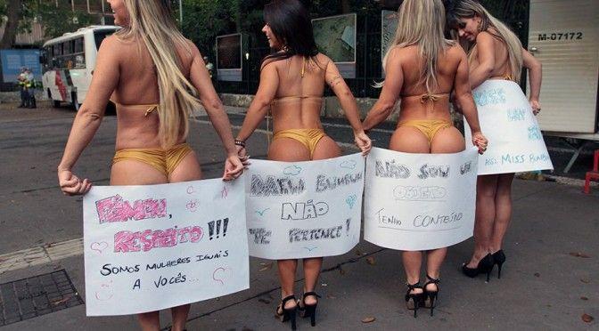 Protesto de candidatas ao Miss Bumbum.