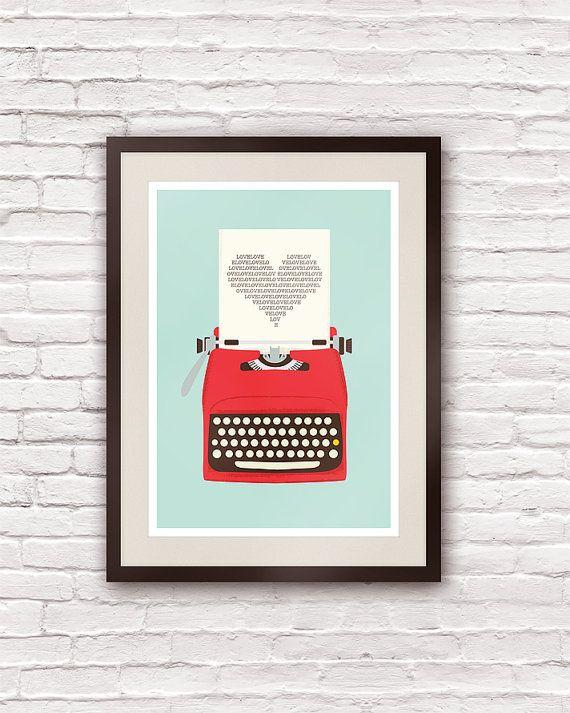 Máquina de escrever antiga. Quadro com pôster vinage da Handz.