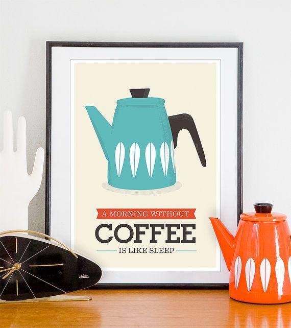 Café e sono. Quadro com pôster vinage da Handz.