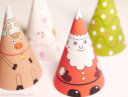 Decoração de Natal barata: bonecos de Papai Noel em cone para imprimir do site Mr. Printables.