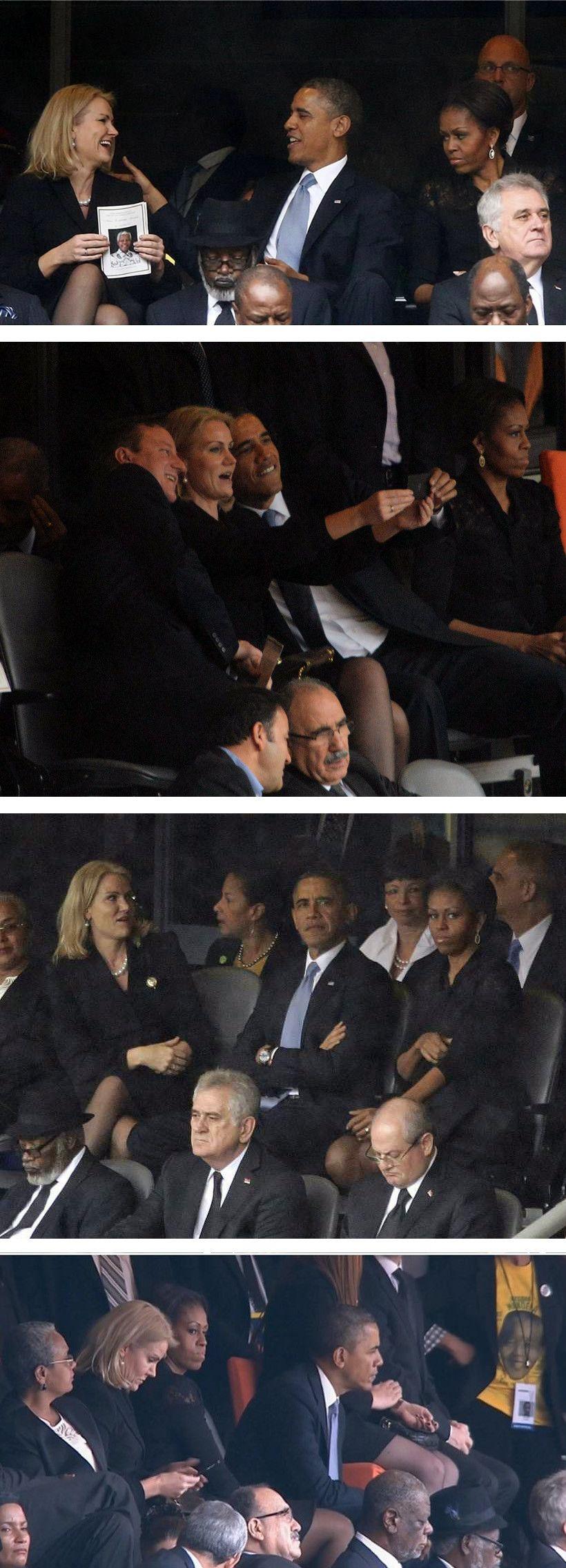 Selfie do Obama no funeral do Mandela deixa Michelle com ciúme.