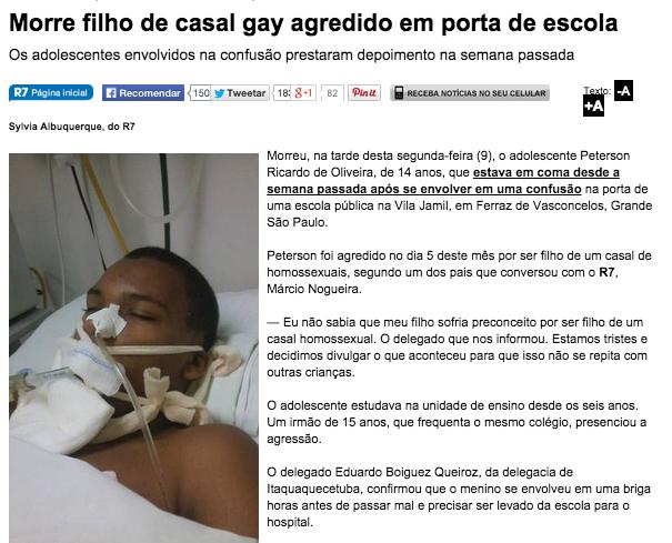 Vítima de homofobia.