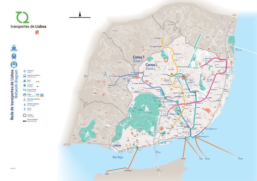 Mapa do transporte público de Lisboa, Portugal.