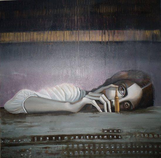 Syrian war art wall by Syrian artist Maysa Mohammed.