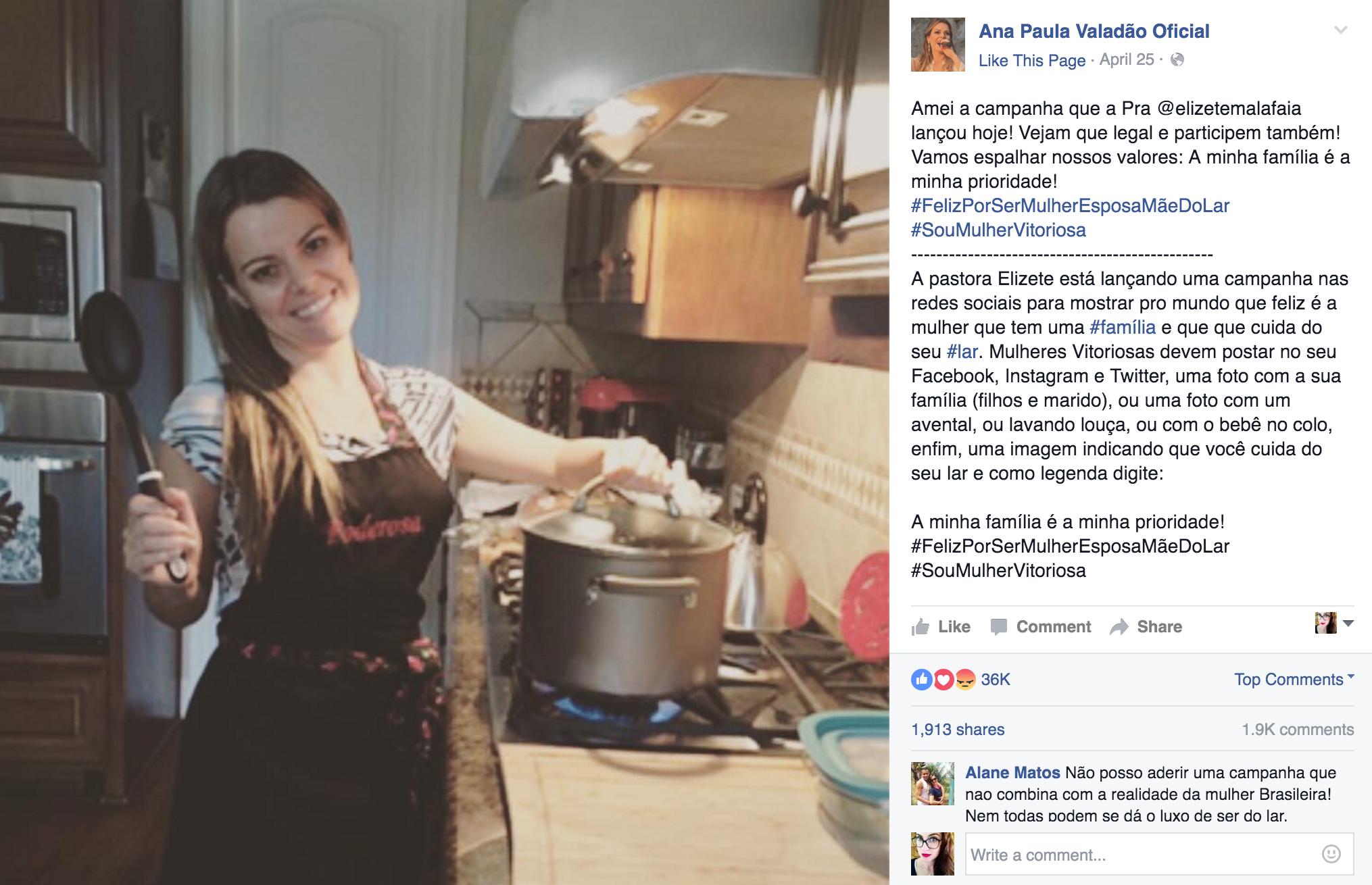 Campanha #SouMulherVitoriosa: post original de Ana Paula Valadão.