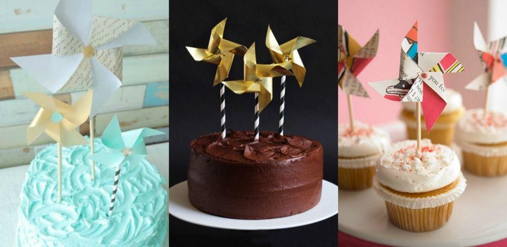 Tutoriais de topos de bolo de catavento DIY para fazer em casa.