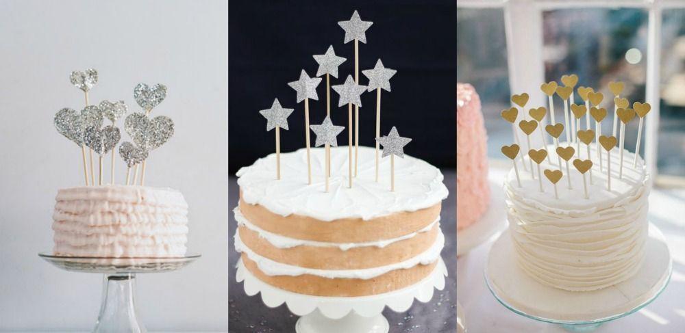 Tutoriais de topos de bolo de coração e estrelinhas com glitter DIY para fazer em casa.