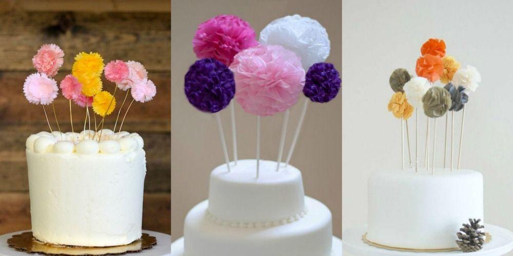 Topo de bolo de pompom DIY para fazer em casa,