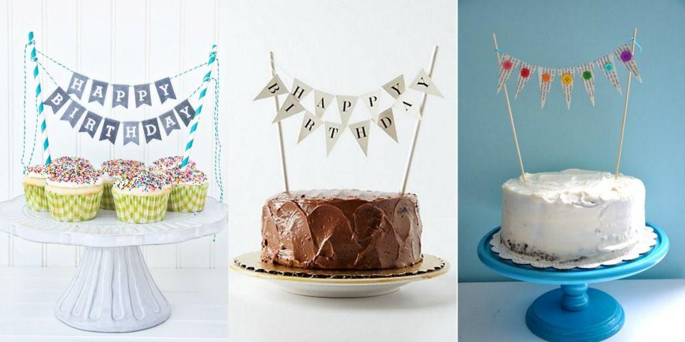 Tutoriais e modelos para download de topos de bolo de varal de bandeirinhas DIY para fazer em casa.