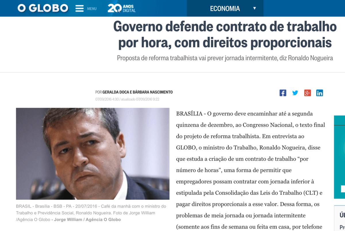 Governo Temer defende contrato por hora com direitos proporcionais.