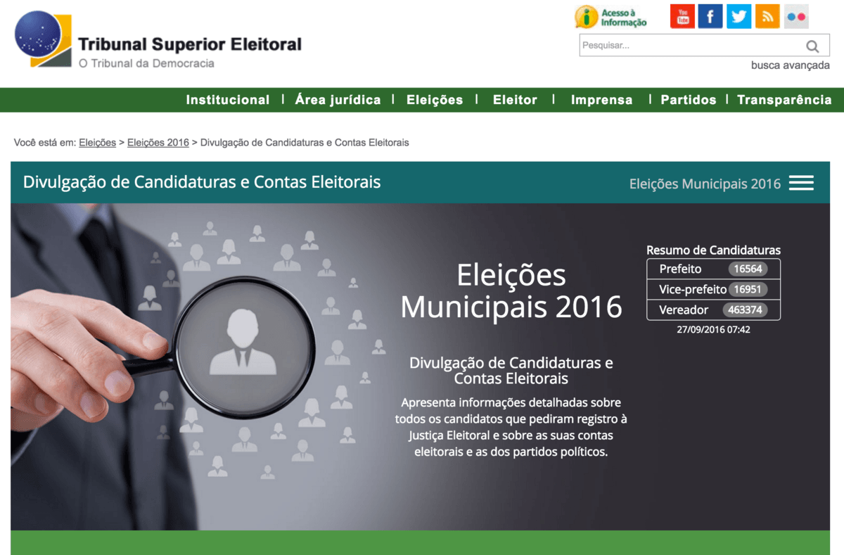 Consulta: lista de candidatos a vereador nas eleições municipais de 2016.