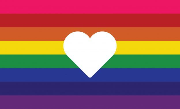 Gay pride flag with a heart.