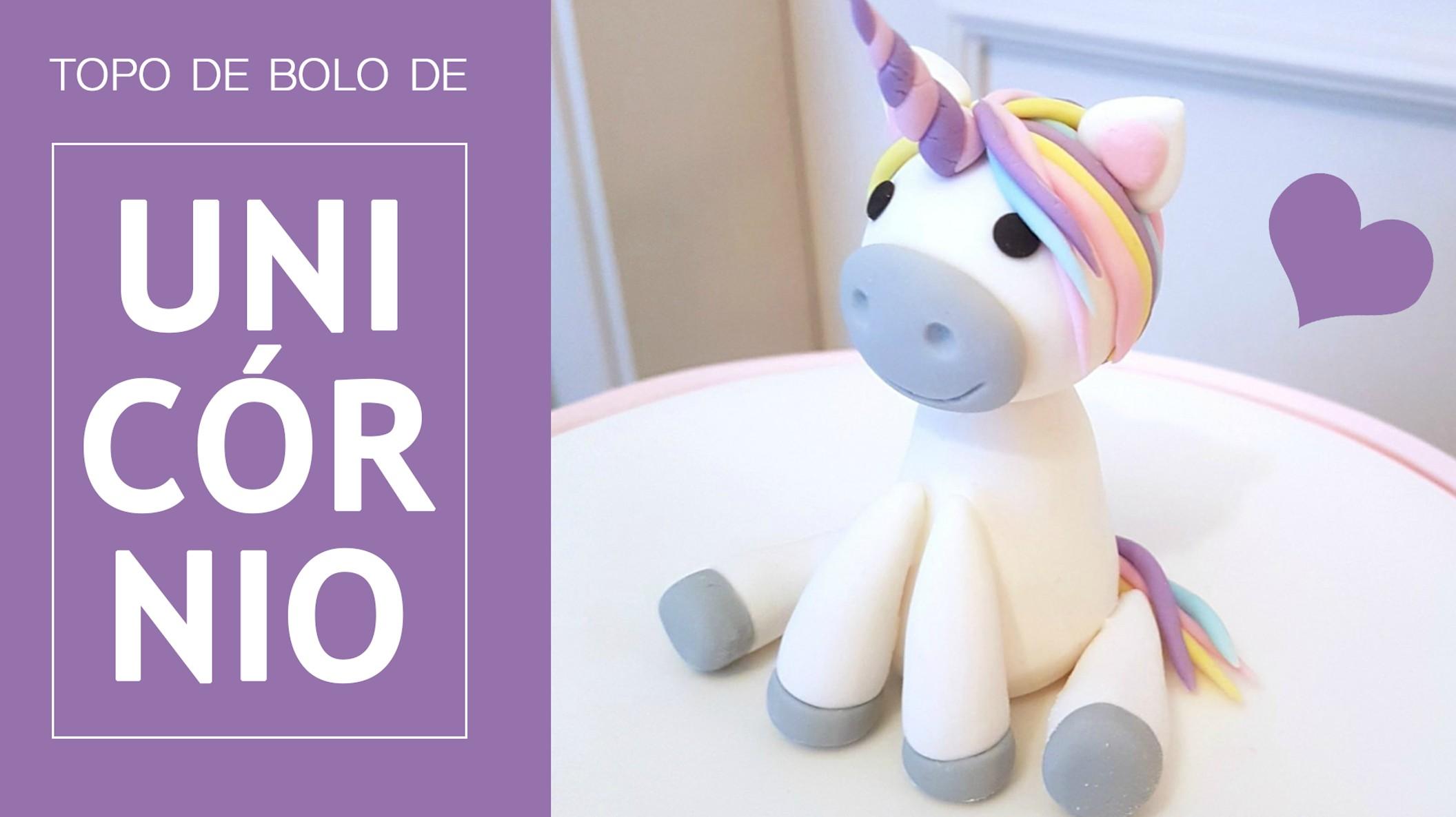 Topo de Bolo de Unicórnio: vídeo aula grátis no Youtube