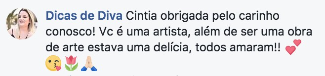 Opinião dos clientes Bolos da Cíntia: blogueira Manu, do Dicas de Diva.