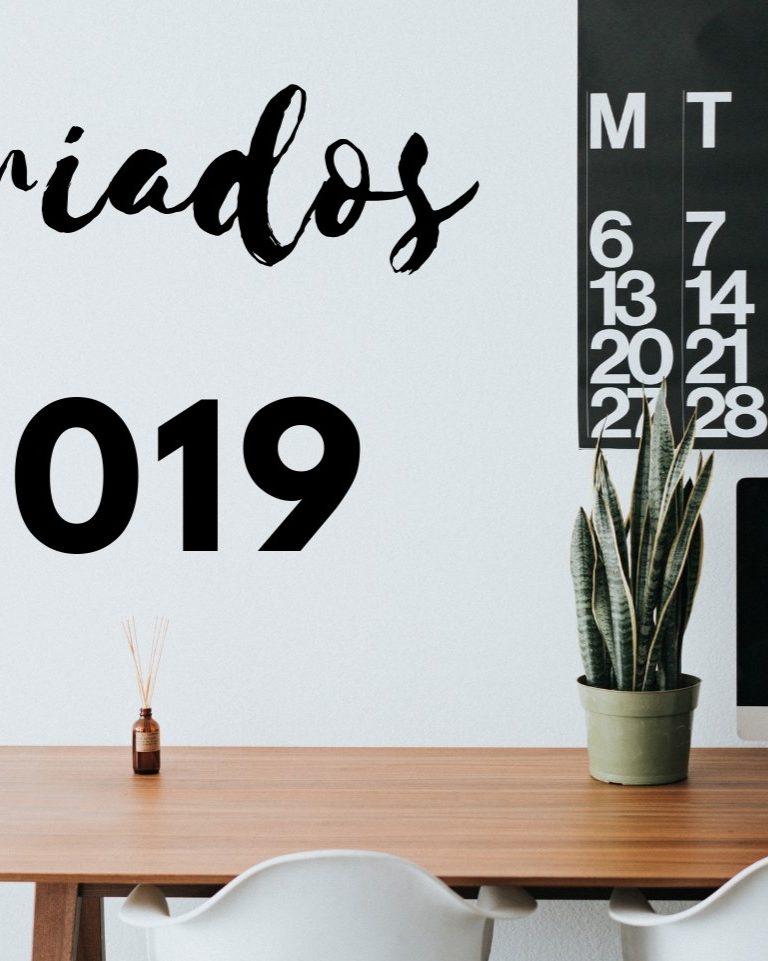 Feriados 2019 nacionais e regionais